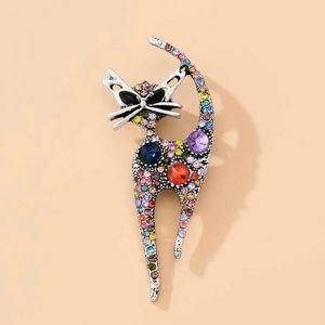 Jewelry - Sold!! Rhinestone cat pin brooch
